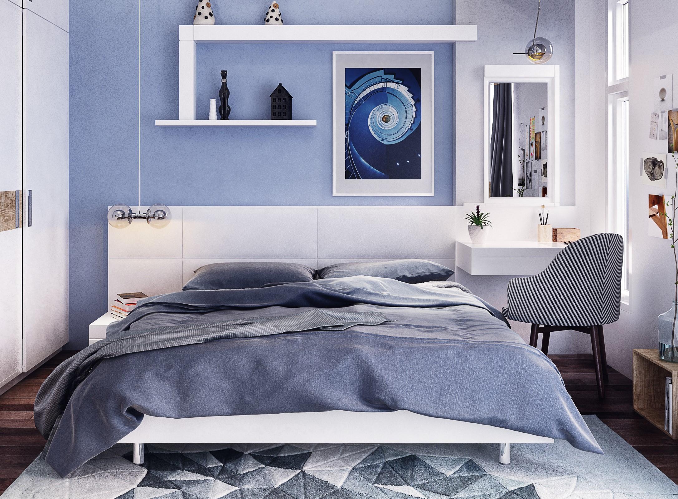 Nội thất phòng ngủ đơn giản màu xanh dương
